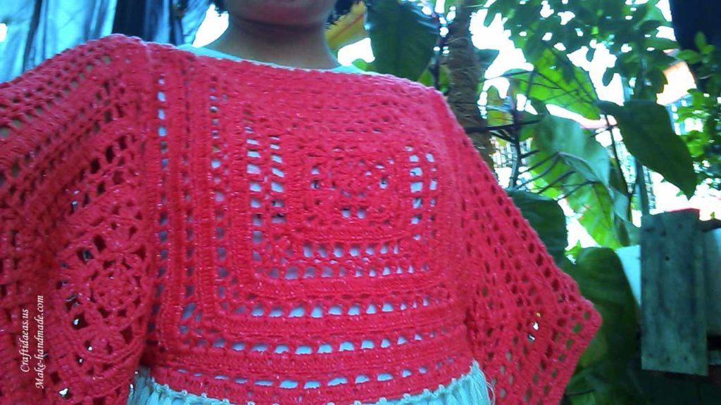 Crochet Kimono Tunic of big squares, crochet chart