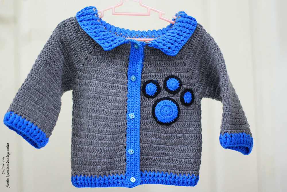 Crochet baby boy jacket with animal footprint