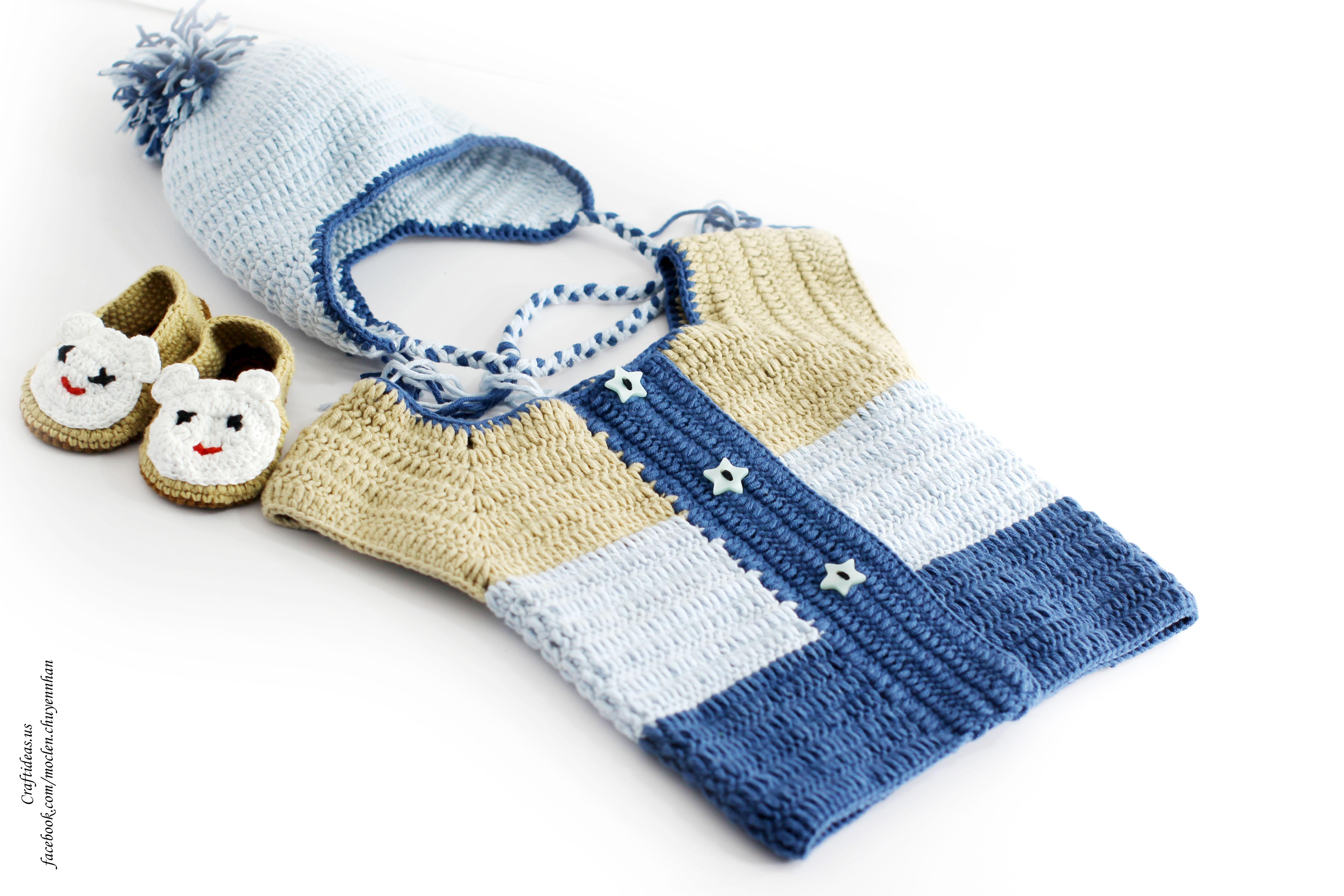 Crochet baby set sweater, hat and booties