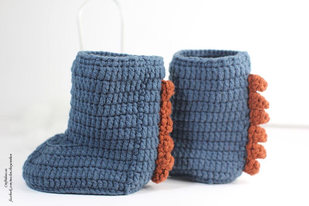 Crochet dragon booties