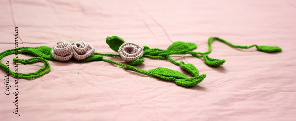 Crochet flowers and leaves scarf