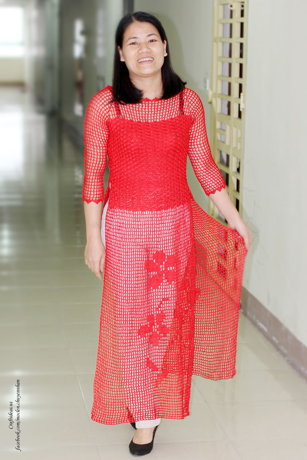 Crochet red Vietnam dress for Tet holiday