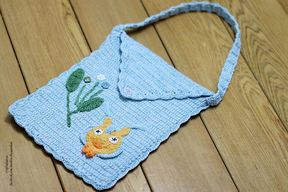 crochet owl ipad carry bag