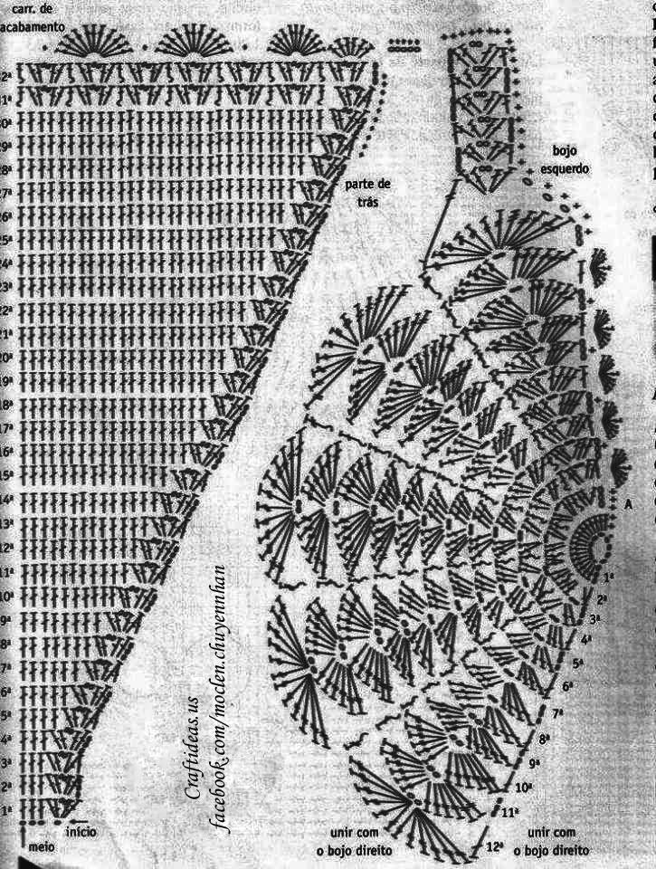 Crochet bra chart