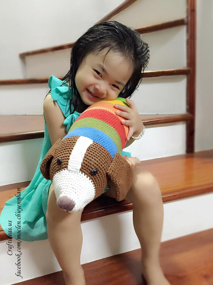 Crochet cute dog bolster for little kids
