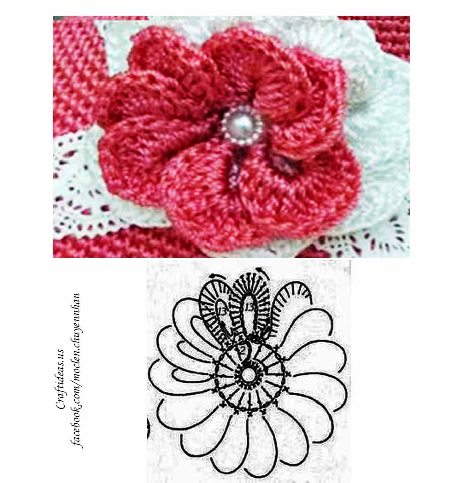 Crochet cute flower chart