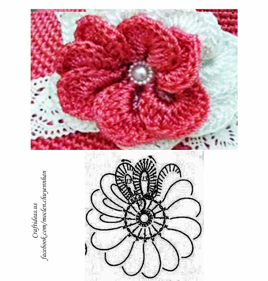 Crochet cute flower chart