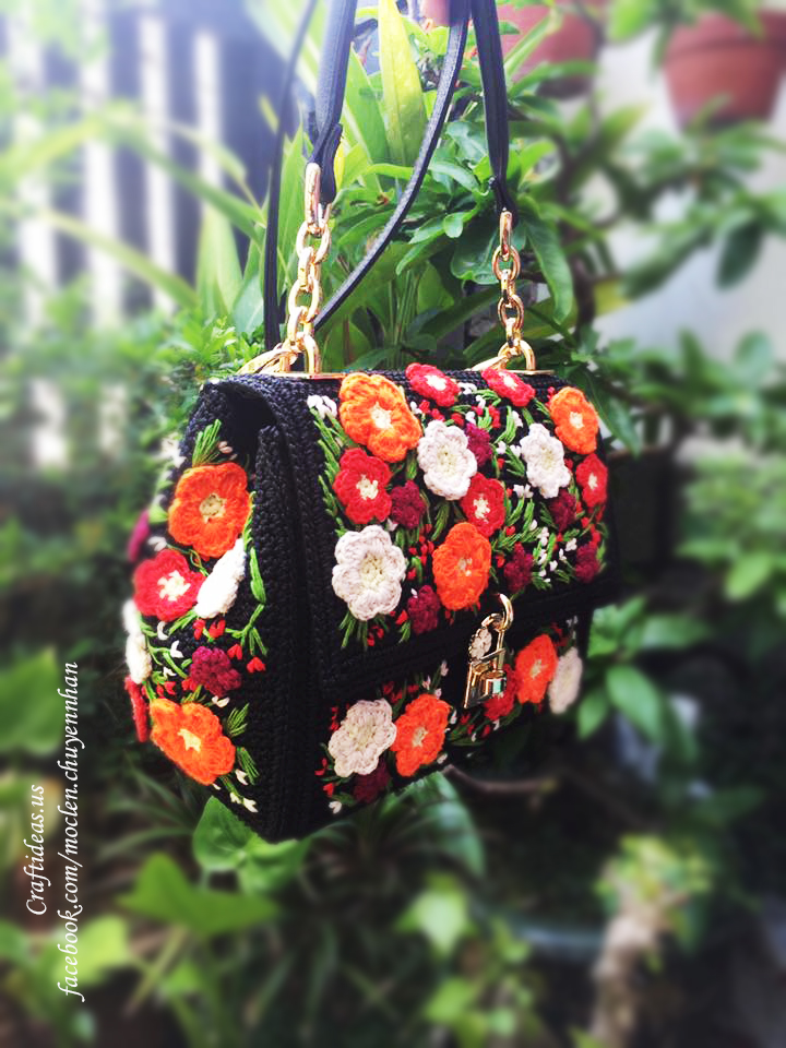 Crochet cute flower handbag ideas