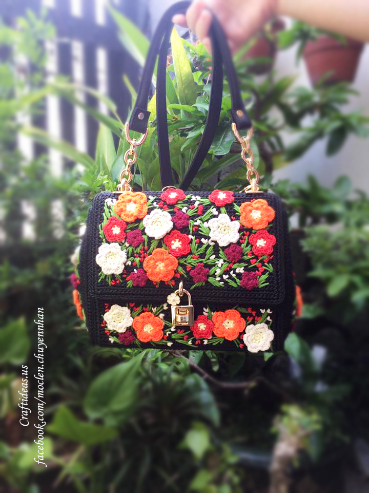 Crochet spring flower handbag ideas