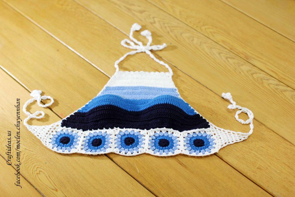 Crochet cute halter top of flower granny squares