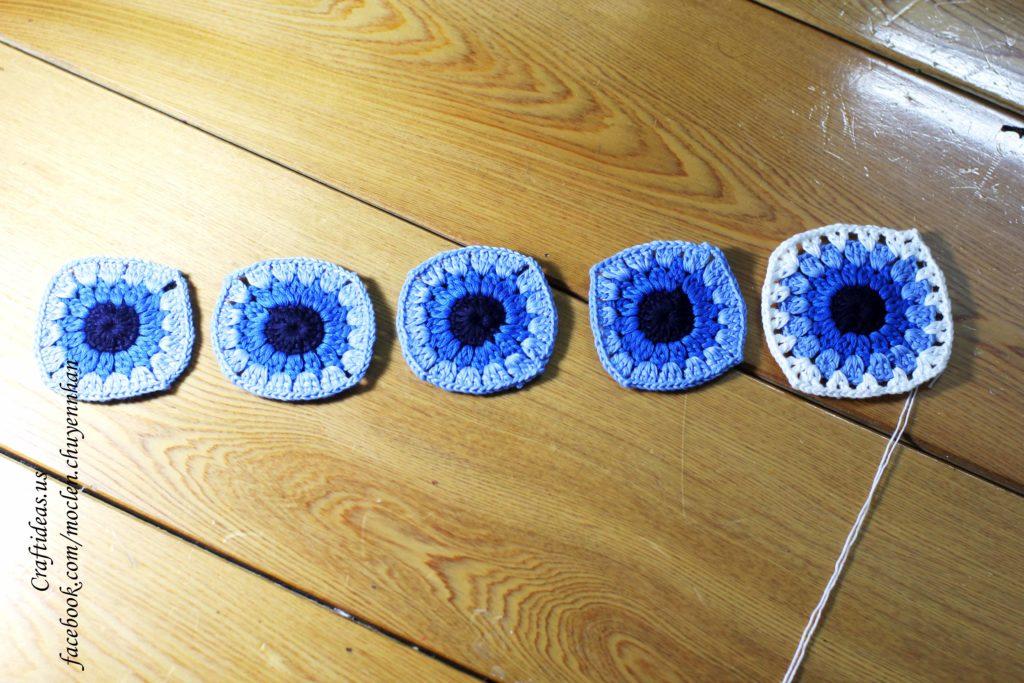 Crochet granny squares for croptop