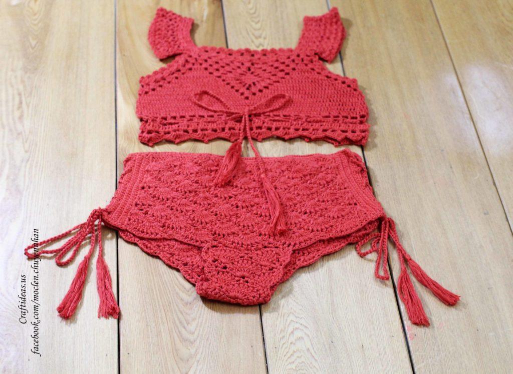 Crochet set crocheted shorts and croptop
