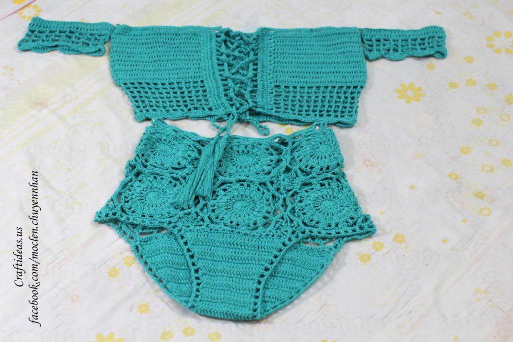 Crochet set croptop and shorts for beach