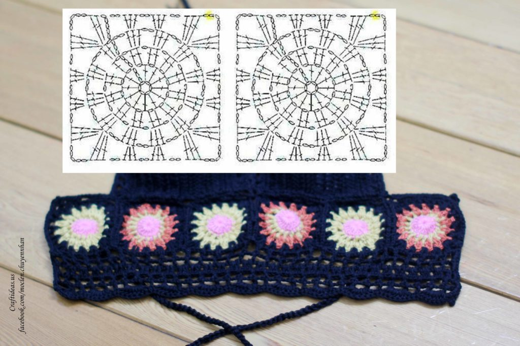 Crochet granny square chart for bikini top