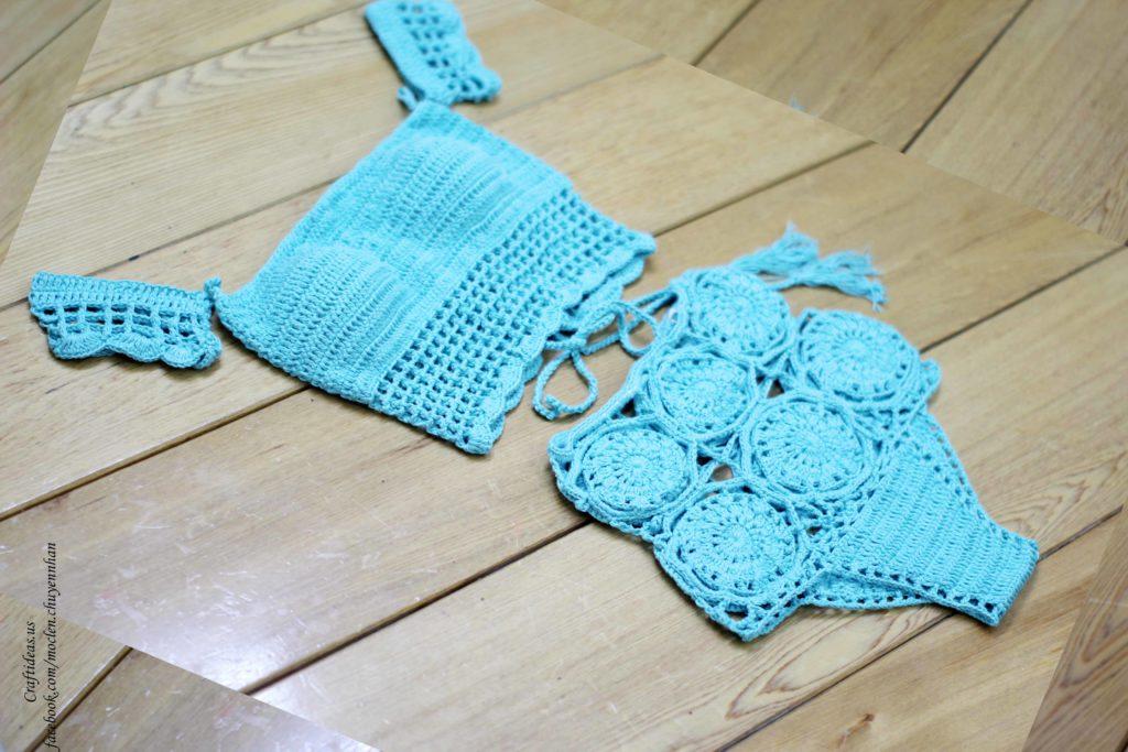 Crochet summer bikini set with flower granny square