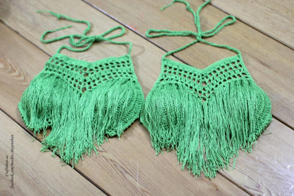 Crochet flameco bra for twin