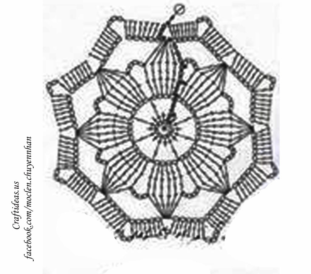 crochet flower for dream catcher top chart